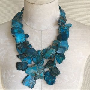 Anthro Turquoise Chunky Statement Piece Necklace